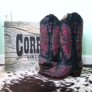 🌵Corral A1049 Black-Pink Cross & Wing Boots 9M🌵